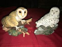 2 Vintage Majestic Owls of the Night by Maruri Hamiltion Collection BARN & SNOWY