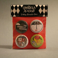 The Umbrella Academy by Gerard Way Badge Set of 4x 32mm metal pin back badges.