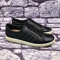 ECCO Soft Women Black Leather Quilted Patent Cap Toe Sneaker Sz 42 US 11 - 11.5