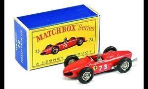 Lesney Matchbox 73 B Ferrari F1 Racer white metal/plastic driver wheel exhaust