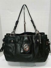 COACH Peyton Carryall Soho Black Leather Purse Tote Work Bag Silver Chain 14522