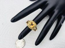 David Yurman 18K Yellow Gold Citrine & Sapphire Petite Albion Cable Ring Sz 7