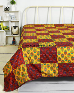 Large Cotton Flannel Filled Throw Sofa Bed Soft Warm Indian Patchwork Blanket