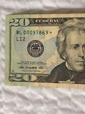 2013 $20 TWENTY DOLLAR BILL STAR ✯ NOTE SAN FRANCISCO FRB - ML 00097869 ✯