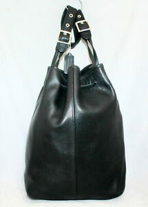 Vtg COACH Legacy XLarge Drawstring Bucket Shoulder Bag 9166 Black Smooth Leather