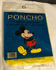 Vintage Disney World Mickey Mouse Rain Poncho, Adult One Size Fit All Waterproof