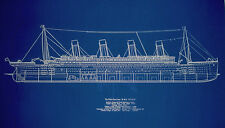 "Ships Plan RMS Titanic White Star Line Blueprint Profile 19"" x 29"" (001B)"