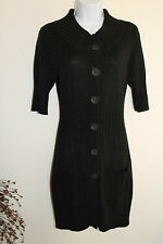 White House Black Market Sweater Dress S Black Knit Cotton Blend Heavy Knit