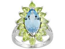 4.20 ctw Blue Topaz 2.40 ctw Peridot Silver Ring Size 8