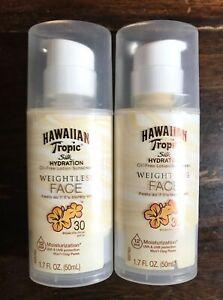 2 Hawaiian Tropic Weightless Face Silk Hydration SPF-30 Sunscreen (1.7oz ea)