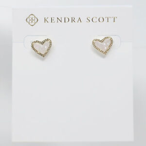 Kendra Scott Ari Heart Stud Earrings in Iridescent Drusy and Gold