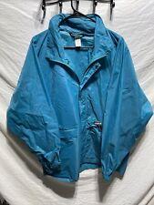 Vtg K Way Jacket Blue Teal Pullover Anorak Windbreaker Packable Hood Full Zip