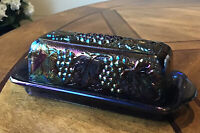 Vintage Imperial Carnival Glass Butter Dish W/ Lid Grape & Cable - Amethyst