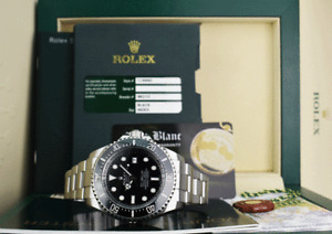 ROLEX 44mm Stainless Steel Deepsea SeaDweller Black Dial CARD 116660 SANT BLANC