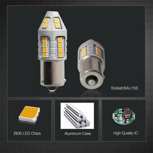 2Pcs 21W Amber BAU15s LED Bulbs for Turn Signal Light Canbus No Resistor & Flash