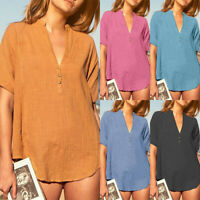 Women Tunic Tops Short Sleeve V Neck Blouse T-Shirt Summer Casual Tee Plus Size