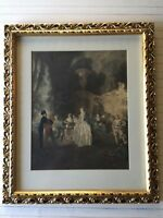 """Jean-Antoine Watteau (1684-1721) Colored Etching Print """"Fete Champetre"""", Framed"""