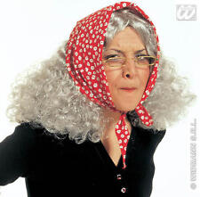 Grey Granny Wig With Headscarf Old Lady Nan Witch Halloween Fancy Dress