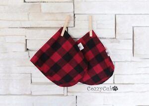 2 Buffalo Plaid Burp Cloths, Flannel, Red/Black, Baby Burp Cloths