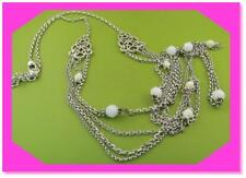 BRIGHTON CLEO BLANC Classic White Silver LONG Retired NECKLACE NWotag $78
