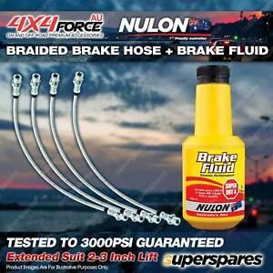 "4 F+R Braided Brake Hoses + Nulon Fluid for Mitsubishi Pajero NS NT 2""-3"" Lift"