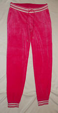 Women's Juicy Couture Pink Drawstring Velour Lurex Jogger Pants Size Small