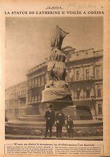 Statue de Catherine II voilée à Odessa par la Révolution  WWI 1917 ILLUSTRATION