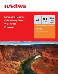 Hartwii 100 Sheets A4 Glossy Clear  Laminate Pouches Film 150 Micron (75mic x 2)