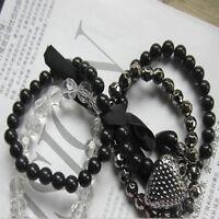 1PC Women's Multilayer Black Bead Crystal Ribbon Bracelet Bangle Chic Jewelry