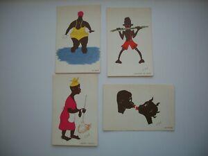 Lot of 4 Postcard Black Americana by Artist Olouf