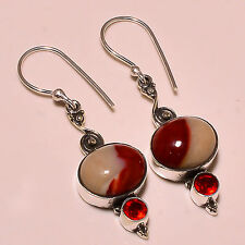 RED MOOKAITE , MOZAMBIQUE GARNET 925 STERLING SILVER EARRING 1.70""