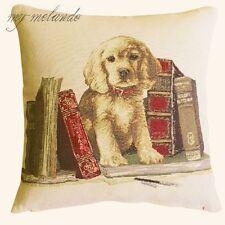 Gobelin Kissenhülle Dekokissen gewebt Hund mit Bücher braun-beige bunt 40x40