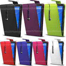 For Sony Xperia PHONES (Various Models) - Flip Leather Case Cover Pouch + Stylus