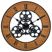 57cm Industrial Giant Wood Metal Wall Clock Large Roman Numerals Modern Gears