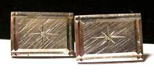 Vintage MID CENTURY LAMODE STERLING & DIAMOND CUFFLINKS -tested- Estate