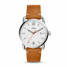 NWT Fossil Men's The Commuter Three-Hand Date Light Brown Leather Watch FS5395