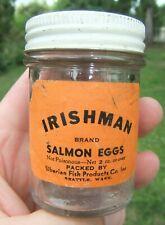 Vntg Irishman Salmon Eggs Label & Empty Jar Siberian Fish Products Co Seattle WA