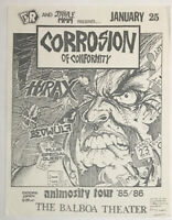 Vintage Concert Flyer Corrosion of Conformity Hirax Beowulf 1986 Animosity L.A.