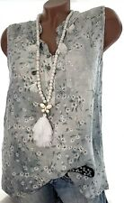 Gr.40-42-(44) Tunika Top Alea (Grau Batik) Damen Sommer Hemd Geblümt Ibiza Bluse