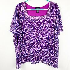 Russell Kemp Women's Blouse Size 4X Sheer Lined Short Sleeves