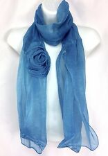 "Blue Scarf Rosette or Flower Silver Metallic Stitching on Edges 17"" x 67"""