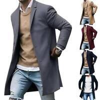 Mens Winter Woolen Long Blazer Jacket Trench Coat Warm Casual Outwear Overcoat