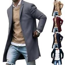 Men Business Coat Winter Trench Coat Outwear Overcoat Long Button Down Jackets
