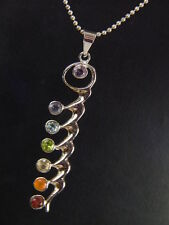 Butw Silver Kundalini 7 Chakra Facet Gemstone Accents Pendant Necklace 5403K