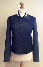 PAUL SMITH JACKET SIZE 44 UK 12 GREY BLACK WOOL CASHMERE MIX ZIP MOON FABRIC