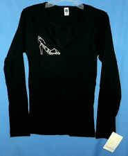 Smart Blonde'Black/Silver'Long Sleeve Crew/V Neck Shirt,Size Med-New With Tags