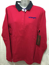 BNWT Ladies Sz 16 Genuine Wrangler Berry Pink Long Sleeve Kelly Rugby Jumper