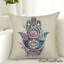 Hamsa Hand of Fatima Linen Square Pillow Cushion Cover.