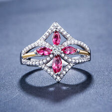 Pretty 925 Silver Jewelry Pink & White Sapphire Women Wedding Ring Size 8
