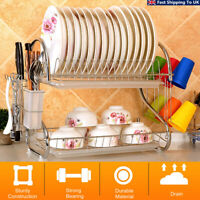 2-Tier Dish Rack Drain Drainer Home Kitchen Cup Dish Drying Plate Cutlery
